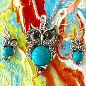 Vintage Owl Charm Silver Necklace Earrings Set New